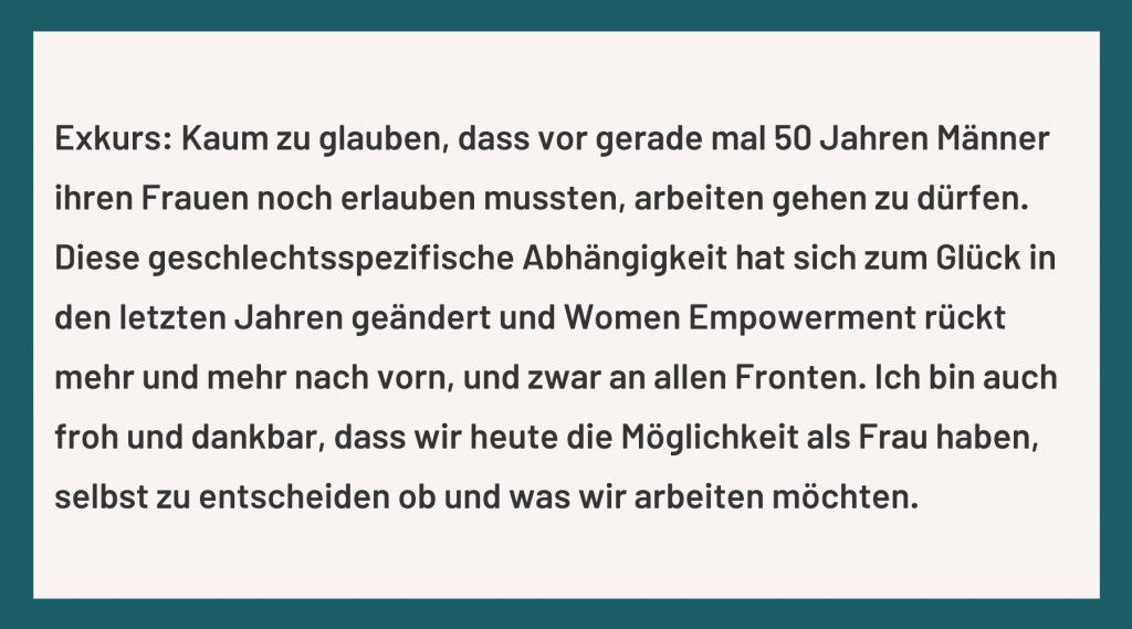 Exkurs: Frauen und Geld